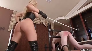 ass spanking with cruel blond