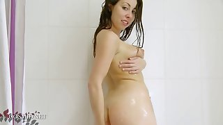 super cute kat in the shower
