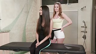 cute eliza ibarra and daisy stone massage each other's pussies