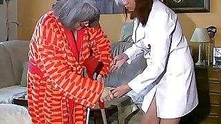 BBW obese Nurse masturbate with old Granny